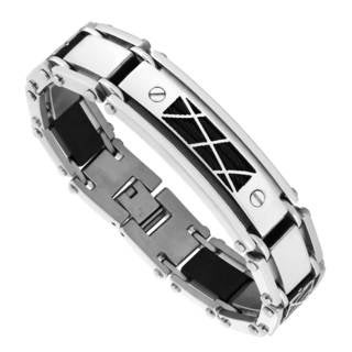 Men's Stainless Steel and Black Braided Wire Bracelet