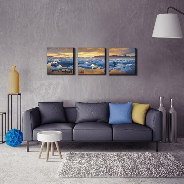 Furinno SeniA Jokulsarlon Sunset 3-Panel MDF Framed Photography Triptych Print