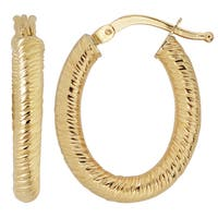 Fremada Italian 14k Yellow Gold Small Oval Hoop Earrings