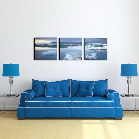 Furinno Senia Jokulsarlon 'Glacier Lagoon' 48-inch x 16-inch MDF 3-Pane Framed Photography Triptych Print