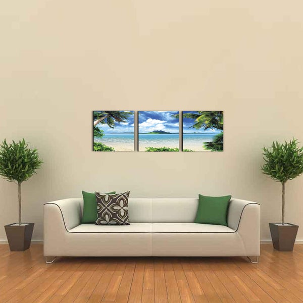 Shop Furinno SeniA \'Coconut Tree Scenery\' 3-Panel MDF Framed ...