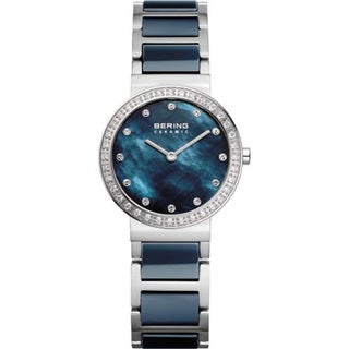 Bering Women's Crystal Accented Blue Ceramic Stainless Steel Watch
