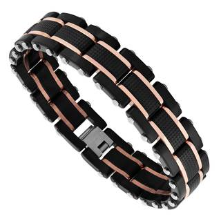 Men's Two-tone Black Stainless Steel Link Bracelet