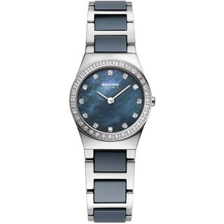 Bering Women's Stainless Steel Crystal Accented Blue Ceramic Watch