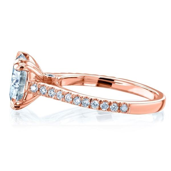 US size 7 Statement Anniversary Round Diamond Fine14k Rose Gold Engement Ring103