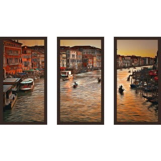 "Yuri Malkov ""Venice Sunset"" Framed Plexiglass Wall Art Set of 3"