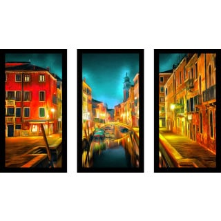"Yuri Malkov ""Venice Nights"" Framed Plexiglass Wall Art Set of 3"