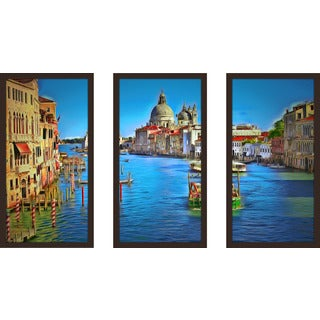 "Yuri Malkov ""Venice Grand Canal"" Framed Plexiglass Wall Art Set of 3"