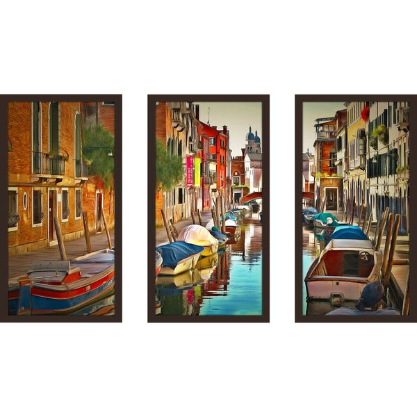 "Yuri Malkov ""Venice Canals Xx"" Framed Plexiglass Wall Art Set of 3"