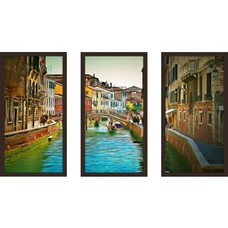 "Yuri Malkov ""Venice Canals Xi"" Framed Plexiglass Wall Art Set of 3"