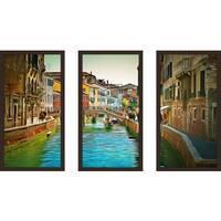 "Yuri Malkov ""Venice Canals Xi"" Framed Plexiglass Wall Art Set of 3"