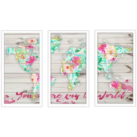 "BY Jodi ""You Are My World 2"" Framed Plexiglass Wall Art Set of 3"