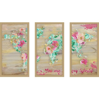 "BY Jodi ""You Are My World 1"" Framed Plexiglass Wall Art Set of 3"