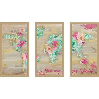 "BY Jodi ""You Are My World 1"" Framed Plexiglass Wall Art Set of 3"