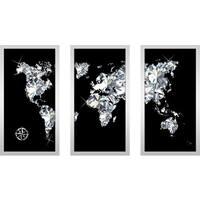 "BY Jodi ""World Of Diamonds"" Framed Plexiglass Wall Art Set of 3"