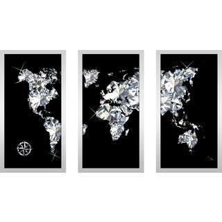 "BY Jodi ""World Of Diamonds"" Framed Plexiglass Wall Art Set of 3 (2 options available)"