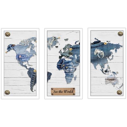 "BY Jodi ""Traveling Pants"" Framed Plexiglass Wall Art Set of 3"