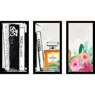 "BY Jodi ""The Book Shelf"" Framed Plexiglass Wall Art Set of 3"