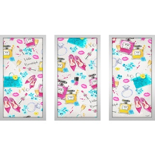 "BY Jodi ""Spring On My Mind 3"" Framed Plexiglass Wall Art Set of 3"