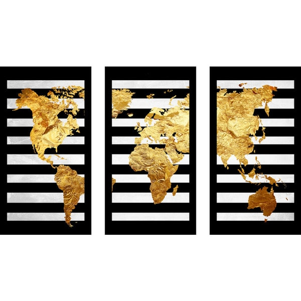 "Wall Art Set Of 3 by jodi ""solid gold 2"" framed plexiglass wall art set of 3 - free"