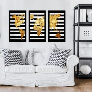 "BY Jodi ""Solid Gold 2"" Framed Plexiglass Wall Art Set of 3 (2 options available)"