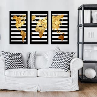 "BY Jodi ""Solid Gold 2"" Framed Plexiglass Wall Art Set of 3"