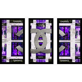 "BY Jodi ""Shop In Purple"" Framed Plexiglass Wall Art Set of 3"