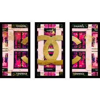 "BY Jodi ""Shop In Pink"" Framed Plexiglass Wall Art Set of 3 - Purple"