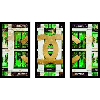 "BY Jodi ""Shop Chanel In Green"" Framed Plexiglass Wall Art Set of 3"