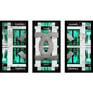 "BY Jodi ""Shop Chanel In Blue"" Framed Plexiglass Wall Art Set of 3"