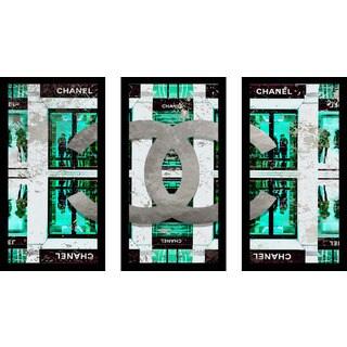 """BY Jodi """"Shop Chanel In Blue"""" Framed Plexiglass Wall Art Set of 3"""