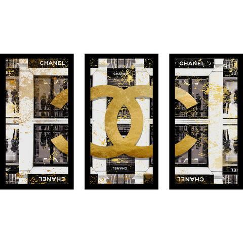 """BY Jodi """"Shop In Black"""" Framed Plexiglass Wall Art Set of 3"""