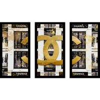 "BY Jodi ""Shop  In Black"" Framed Plexiglass Wall Art Set of 3"
