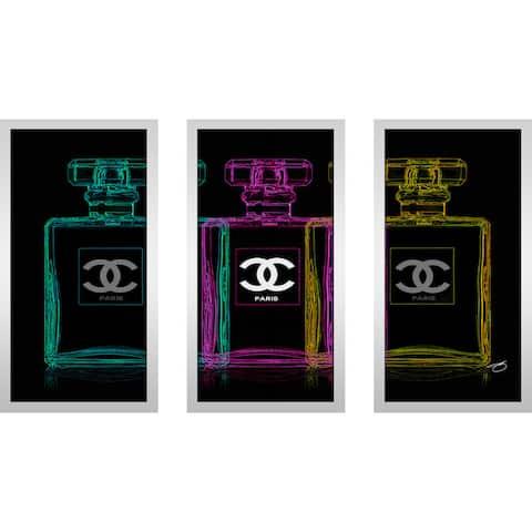 """BY Jodi """"Seeing Triple"""" Framed Plexiglass Wall Art Set of 3"""