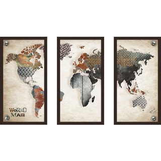 "BY Jodi ""Scrap Metal"" Framed Plexiglass Wall Art Set of 3"