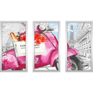 "BY Jodi ""Scoot Around Paris In Pink 3"" Framed Plexiglass Wall Art Set of 3"