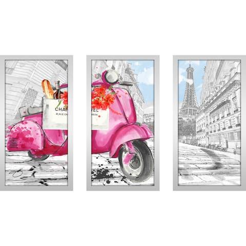 "BY Jodi ""Scoot Around Paris In Pink 2"" Framed Plexiglass Wall Art Set of 3"