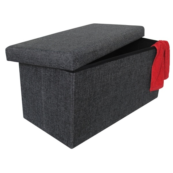 Shop Wees Beyond Grey Fabric 30 Inch Collapsible Storage Ottoman