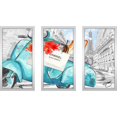 "BY Jodi ""Scoot Around Paris In Blue 2"" Framed Plexiglass Wall Art Set of 3"