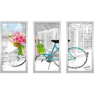 "BY Jodi ""Saturday In London"" Framed Plexiglass Wall Art Set of 3"