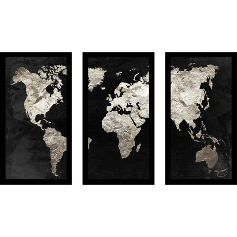 "BY Jodi ""Pure Silver"" Framed Plexiglass Wall Art Set of 3 - Black"