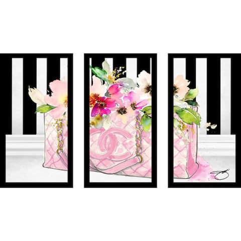 "BY Jodi ""Pink Perfection"" Framed Plexiglass Wall Art Set of 3"