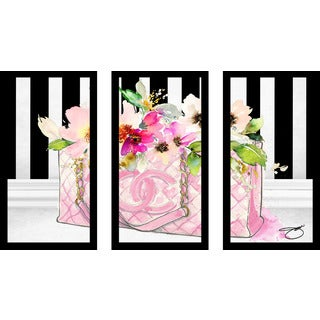 "BY Jodi ""Pink Perfection"" Framed Plexiglass Wall Art Set of 3"