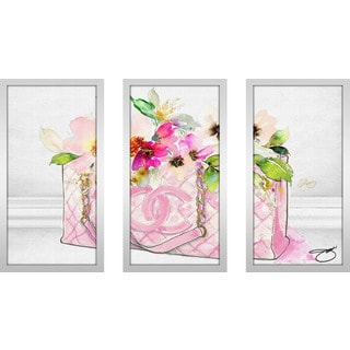 "BY Jodi ""Pink Perfection 1"" Framed Plexiglass Wall Art Set of 3"