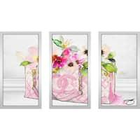 "BY Jodi ""Pink Perfection 1"" Framed Plexiglass Wall Art Set of 3"