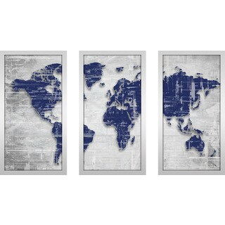 "BY Jodi ""Moody Blue World"" Framed Plexiglass Wall Art Set of 3"