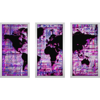 "BY Jodi ""Mad World Purple"" Framed Plexiglass Wall Art Set of 3"