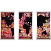 """BY Jodi """"Mad World Pink"""" Framed Plexiglass Wall Art Set of 3"""