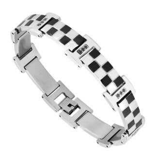 Men's Stainless Steel Checkerboard and Cubic Zirconia Bracelet