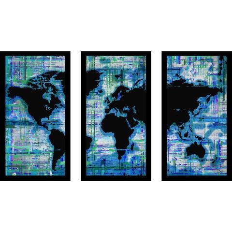 """BY Jodi """"Mad World Blue"""" Framed Plexiglass Wall Art Set of 3"""
